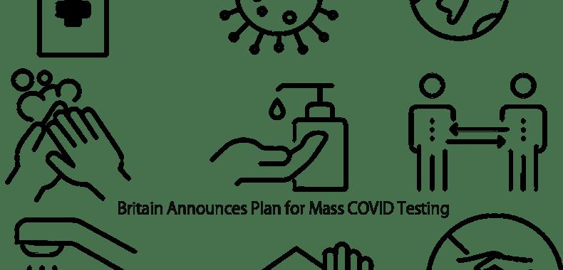 コロナ予防のイラストの上にBritain Announces Plan for Mass COVID Testingの印字