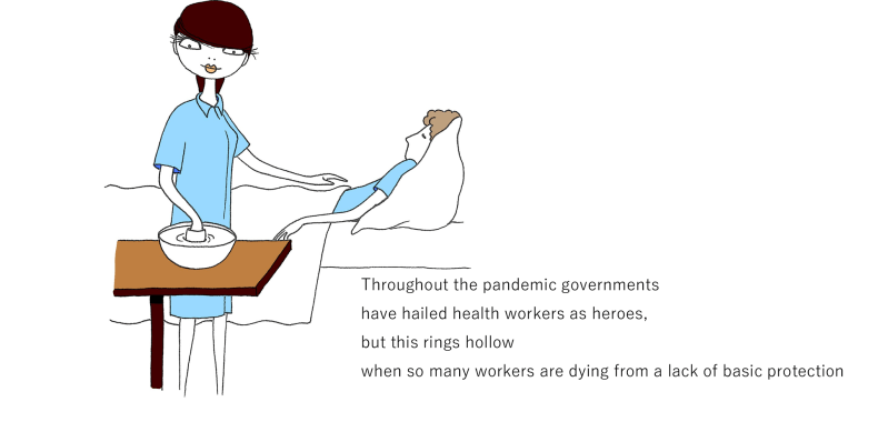 ヘルス・ワーカーの絵に上にThroughout the pandemic governments have hailed health workers as heroes, but this rings hollow when so many workers are dying from a lack of basic protection の印字