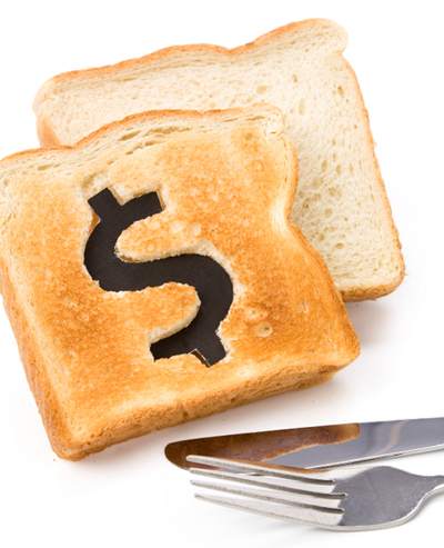IMG: Toast with dollar sign cut out