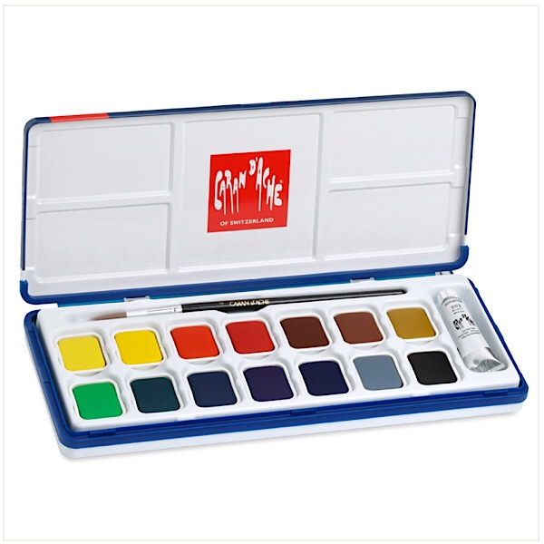 Caran d'Ache Gouache Studio 15 Colors Pan Set in Metal Tin