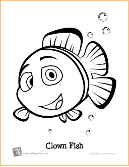 clown fish free printable coloring page