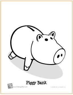 piggy bank free printable coloring page