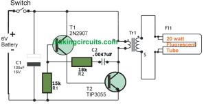 6v DC 20 watt Florescent Lamp Driver Circuit