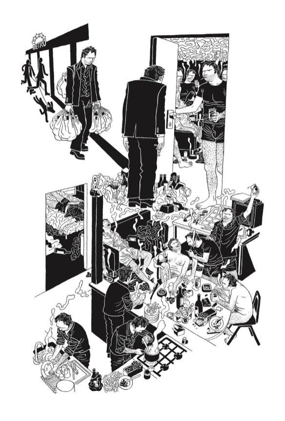 Crédito: Editora Leya/ Divulgação. Páginas da história em quadrinhos 676 aparições de Killoffer, de Patrice Killoffer.