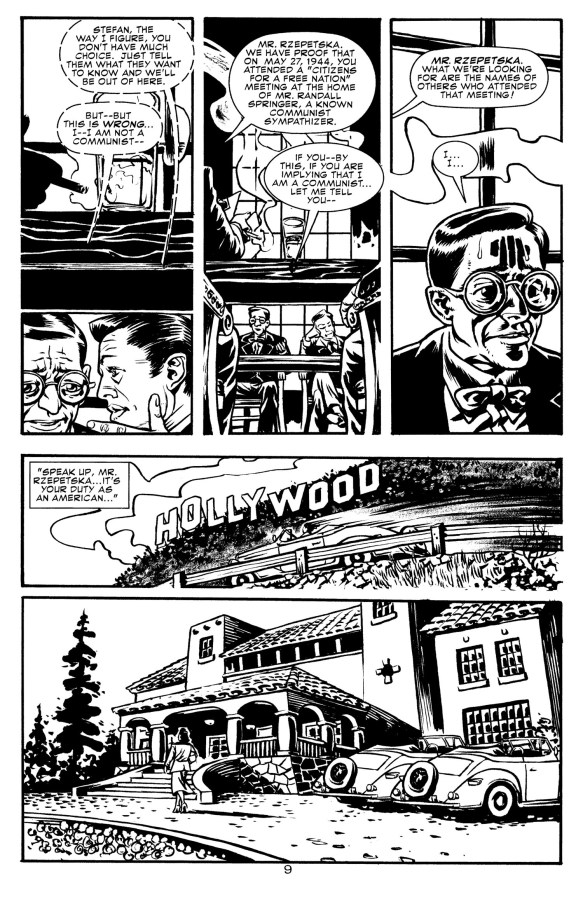 A pair of pages from 'WW vs The Red Menace' - in each after the 3rd panel, there is a Scene to Scene transition. Also the next one on this page is possibly one as well, with a substantial change of location between each moment.