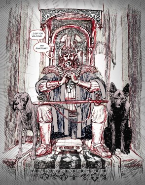 """Pencils"" for Dracula Son of the Dragon. They were done in a mix of pencils, pens, and a bit of compositing in Photoshop, I added the dogs after drawing Vlad. Also pasted in some of the woodwork from refrence on the chair to save time, inked it in to get a nice unified effect."