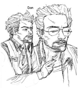 Agent Dan sketches! I did studies like these for all of them but can't find the images right now.