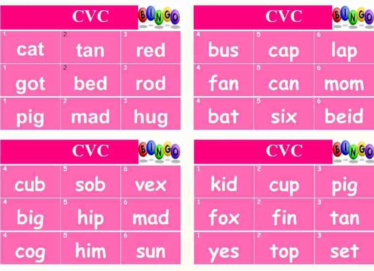 Phonics Bingo – Single sounds and CVC words