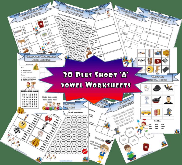 Short A – CVC – 30+worksheets.