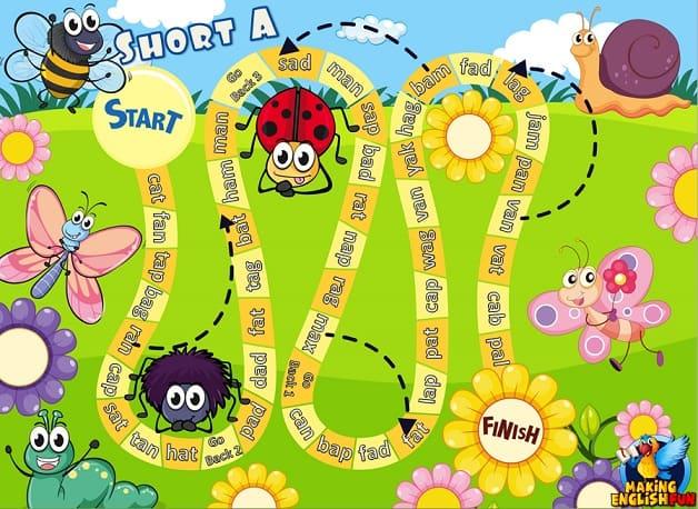 Phonics, CVC and Short Vowel Board games – Ladybug theme.