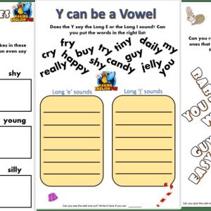 y as a vowel worksheets