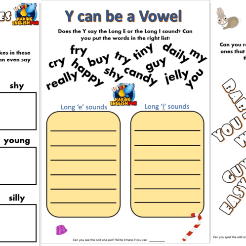 y as a vowel worksheets