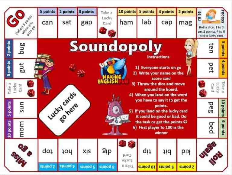 Soundopoly Phonics and English game For Classrooms and Homes.