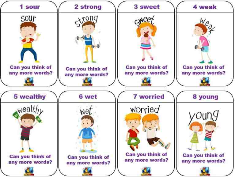 Adjective  card game for classrooms