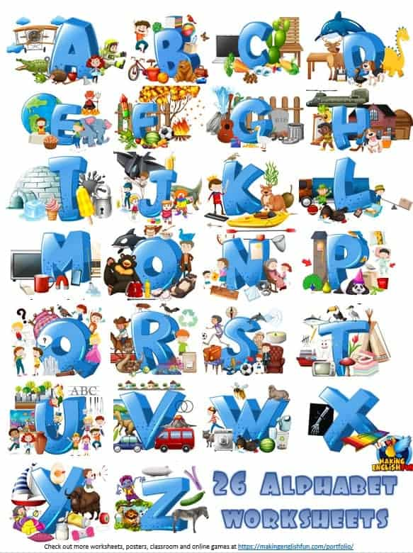 26 Alphabet And ABC Picture Worksheets Fully Editable Version - Making  English Fun