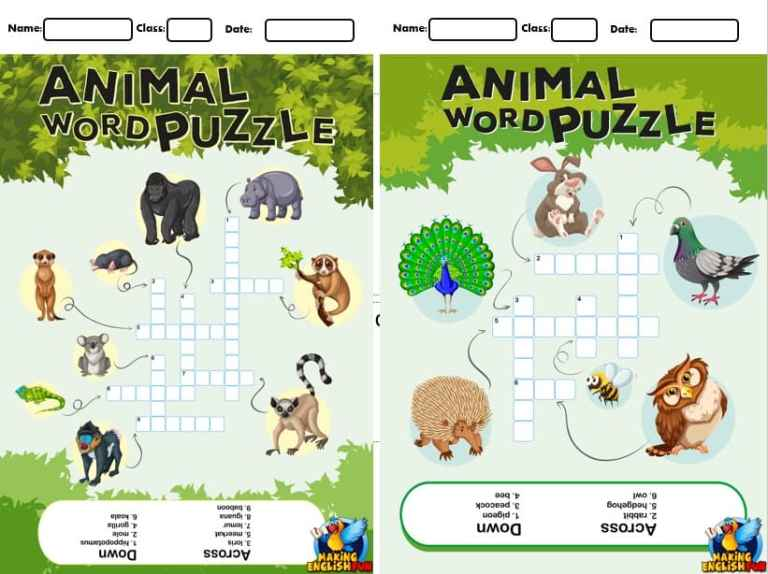 7 Animal Crosswords