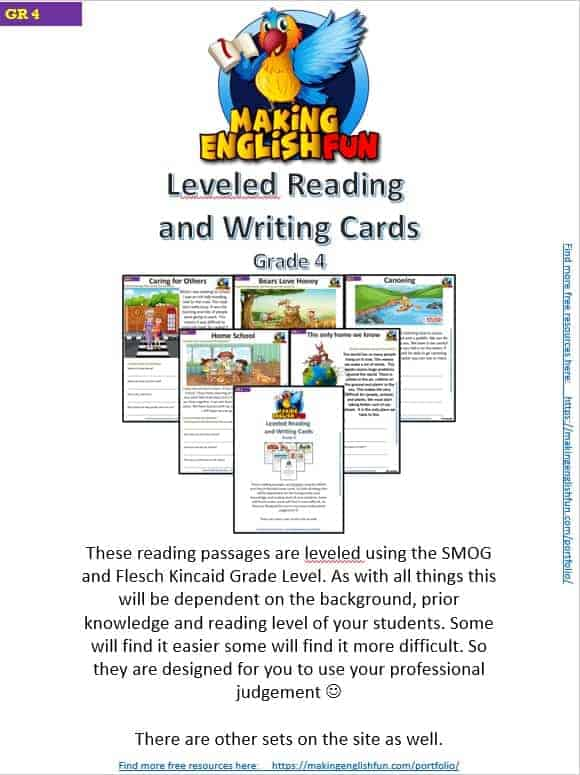 Grade 4 – Reading / Writing Comprehension Cards for KindI,  Primary and ESL Students