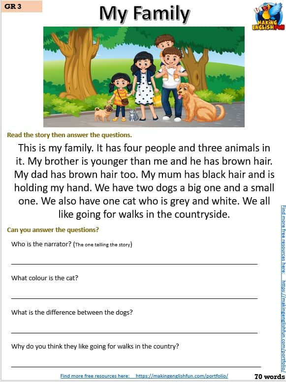 Free grade 3 reading comprehnsion
