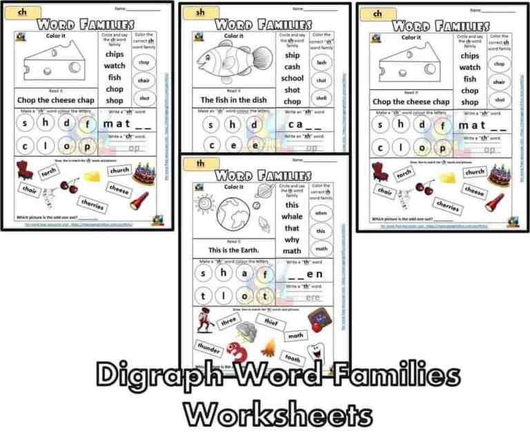 Digraphs Word Families Worksheets Wh-Ch-Sh-Th