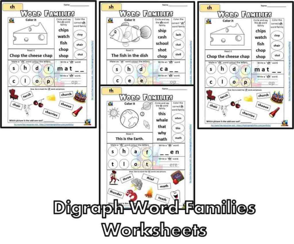 FREE Digraph word families Worksheet