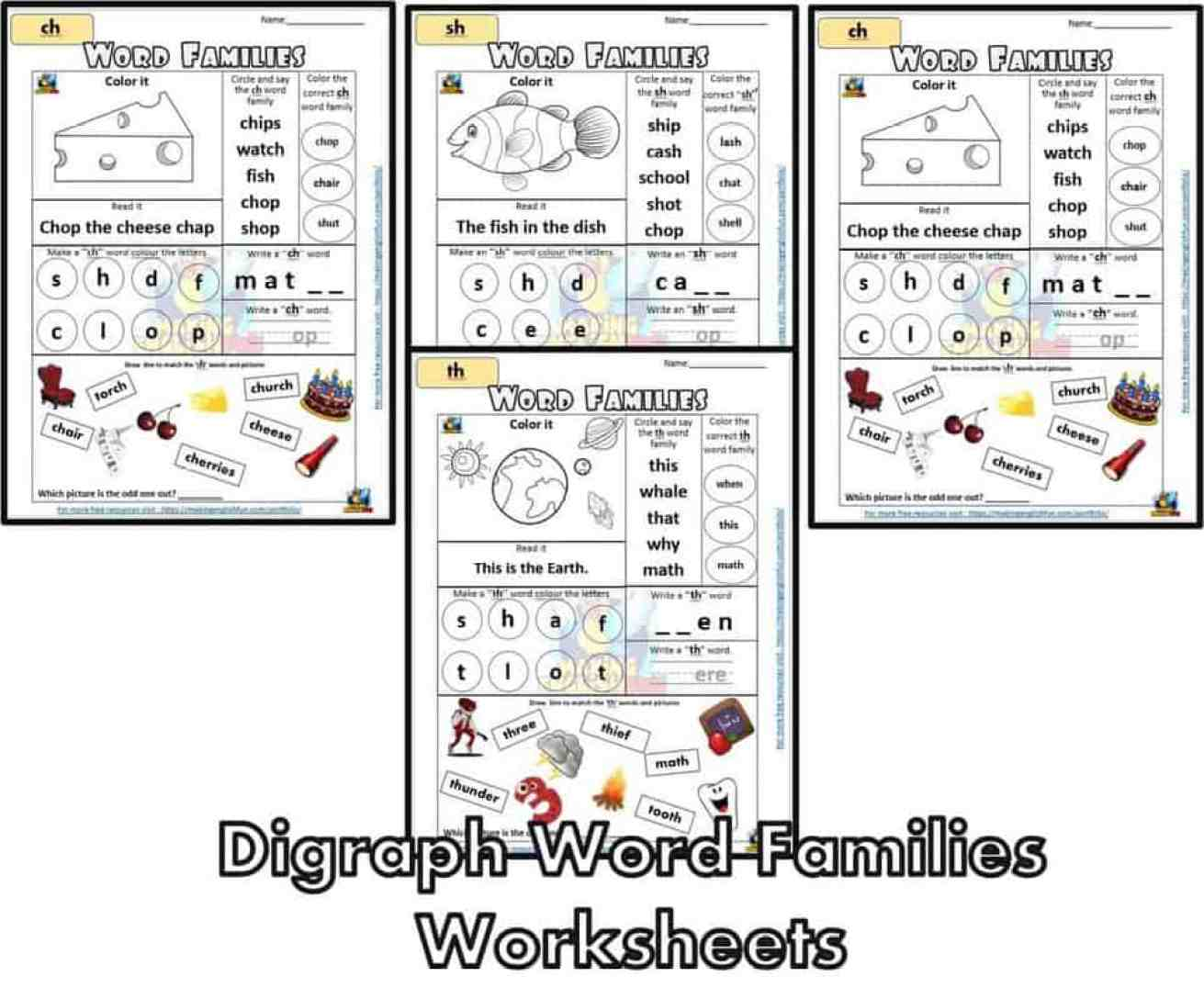 FREE Digraph word families Worksheet
