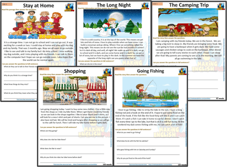 Grade 3 – Reading / Writing Comprehension Cards for Kindi,  Primary and ESL Students – Set 2