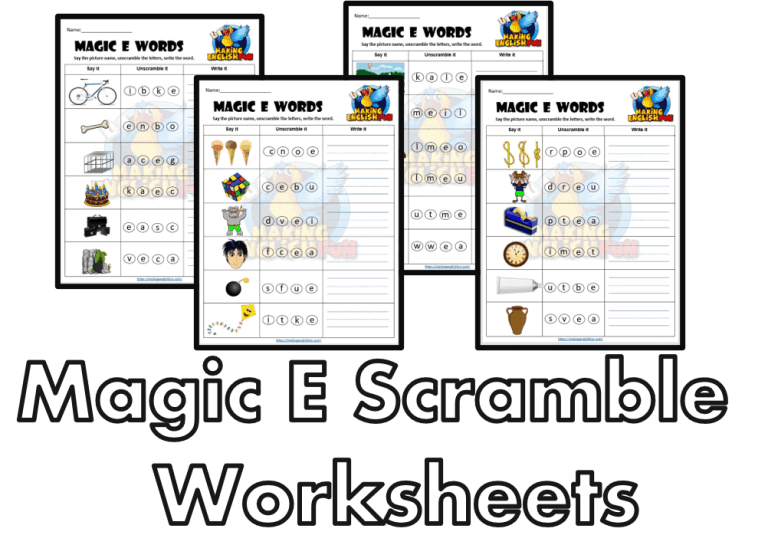 Magic E Scramble- Long Vowel Worksheets