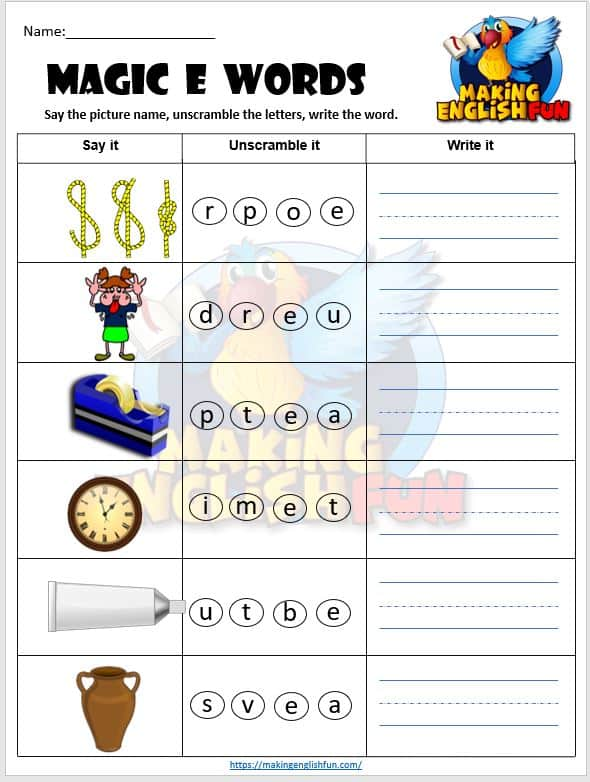 Magic E scramble Phonics Worksheets