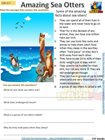 FREE grade 5 reading comprehension worksheets