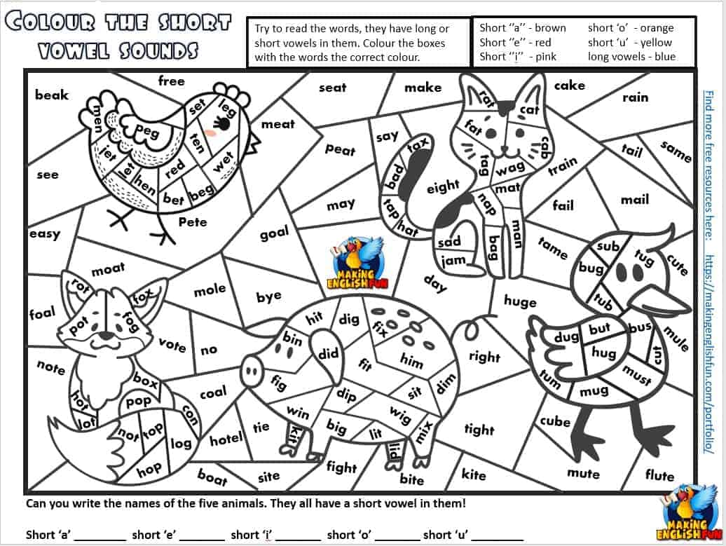 Free Short Vowel Colouring CVC Phonics worksheets