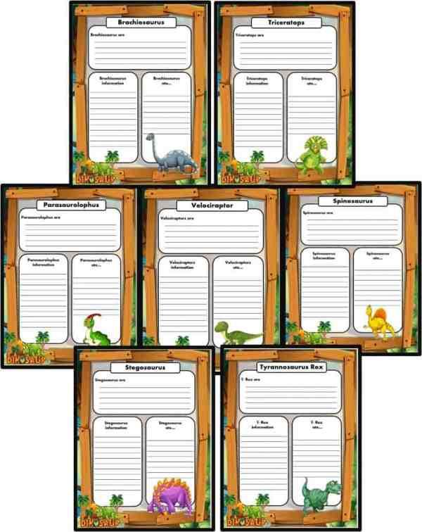 FREE Dinosaur Writing templates English lessons