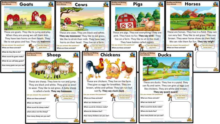 Reading and Writing Comprehension Cards – Farm Animals – Kindergarten and Young Learners