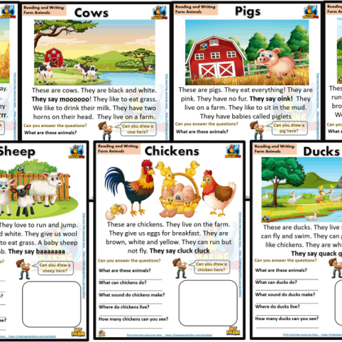 FREE guided Reading Readers and worksheets Farm animals