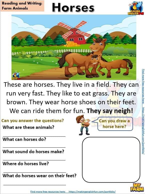 FREE guided Reading Readers and worksheets Farm horses