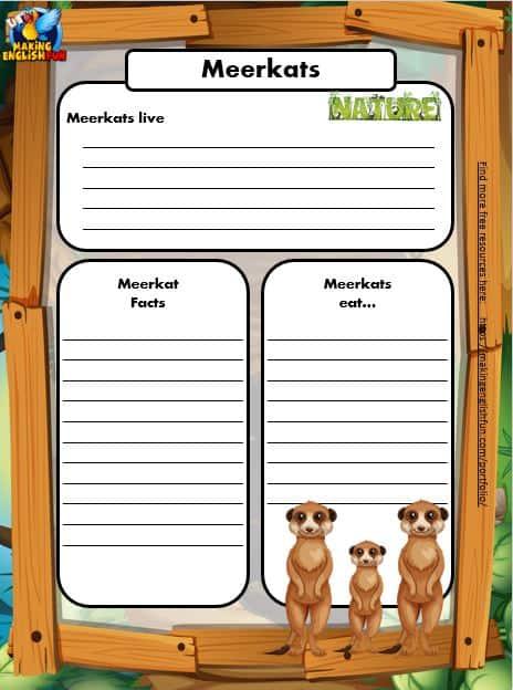 Free Animal Writing Worksheets for ESL meerkat