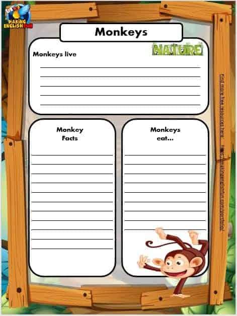 Free Animal Writing Worksheets for ESL monkey