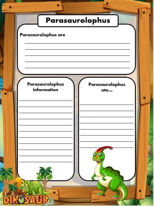 FREE Dinosaur Writing templates Parasaurolophus
