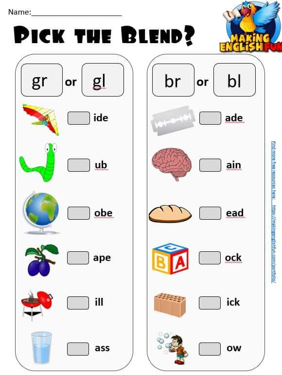 G GL consonant blends