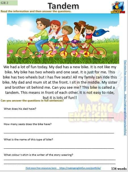 Free Reading comprehension Grade 3