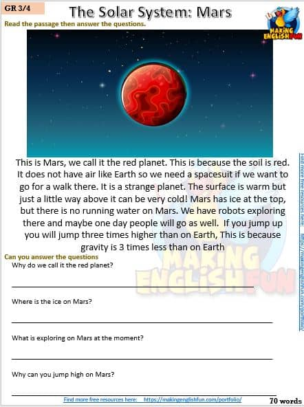 FREE Reading and writing Space worksheets MArs