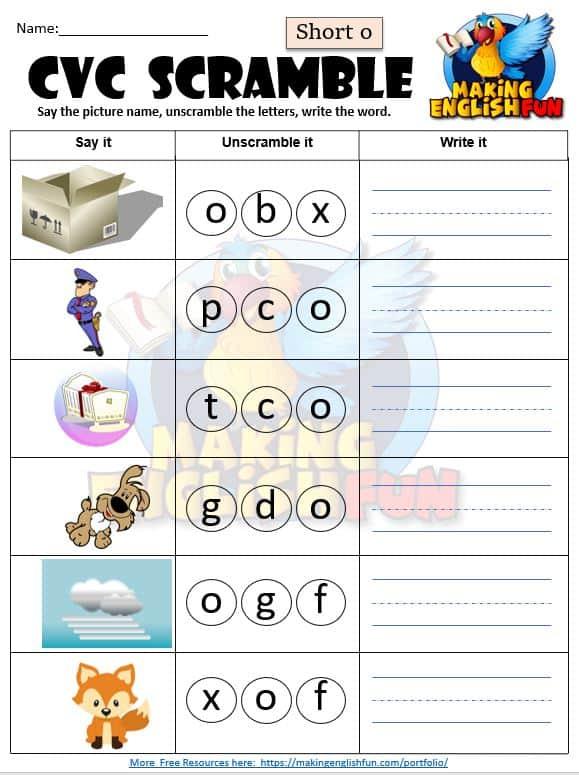 FREE CVC phonics Short o worksheet