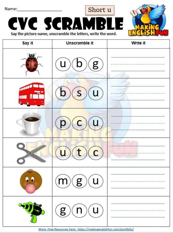 Short u CVC worksheet