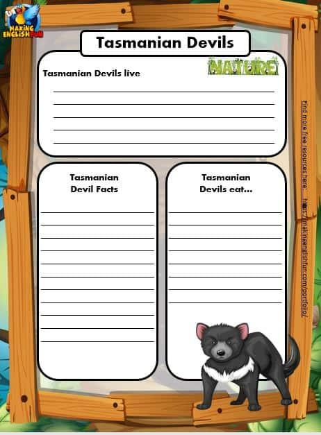 Free Animal Writing Worksheets for ESL tasmainian devil