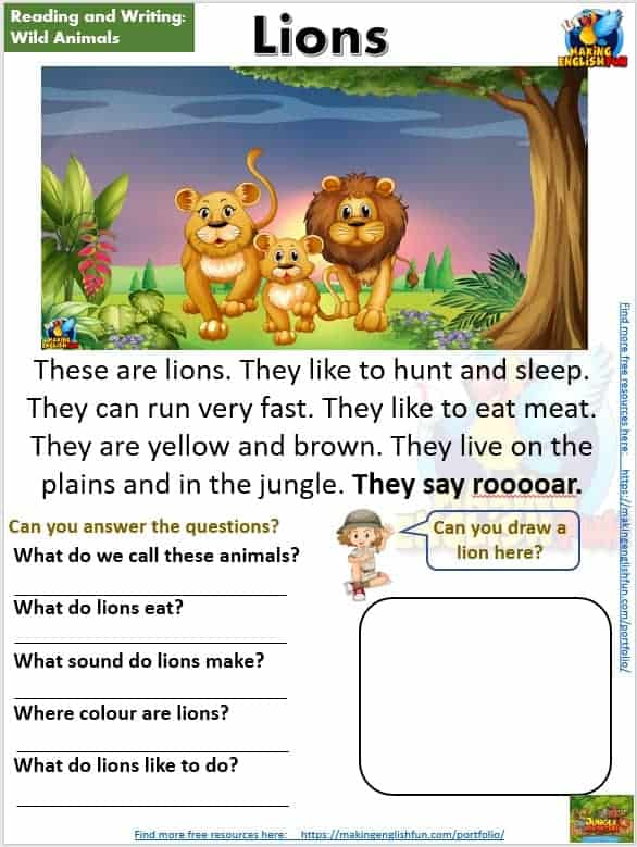 FREE guided Reading Readers and worksheets lions