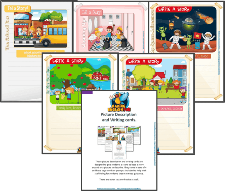Writing and Picture Description Worksheets for KindI,  Primary and ESL Students