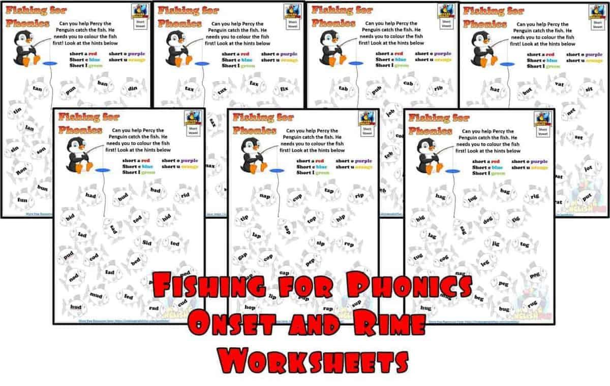 Phonics Onset and Rime Fishing for Phonics worksheets
