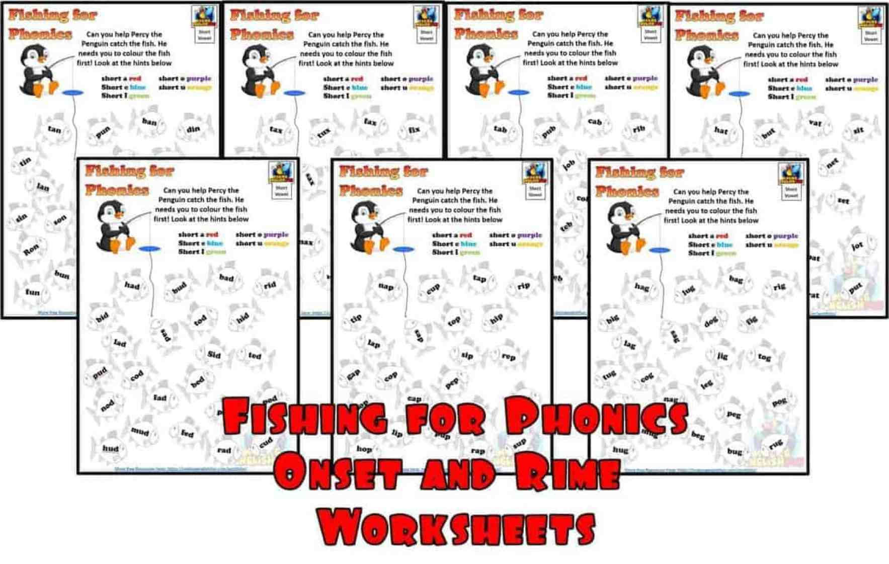 Phonics Onset and Rime Fishing for Phonics worksheets