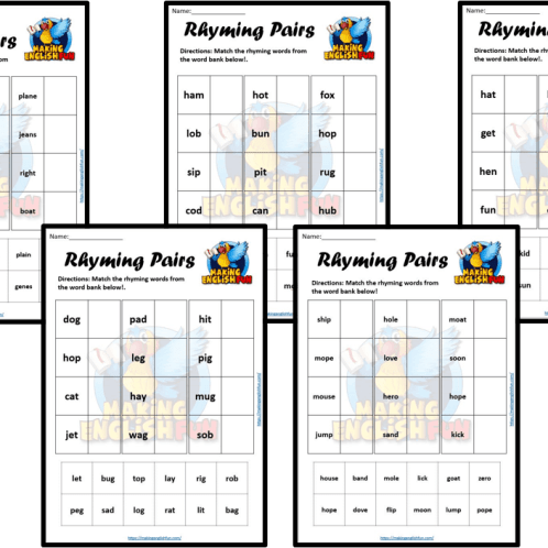 Rhyming pairs Worksheet set
