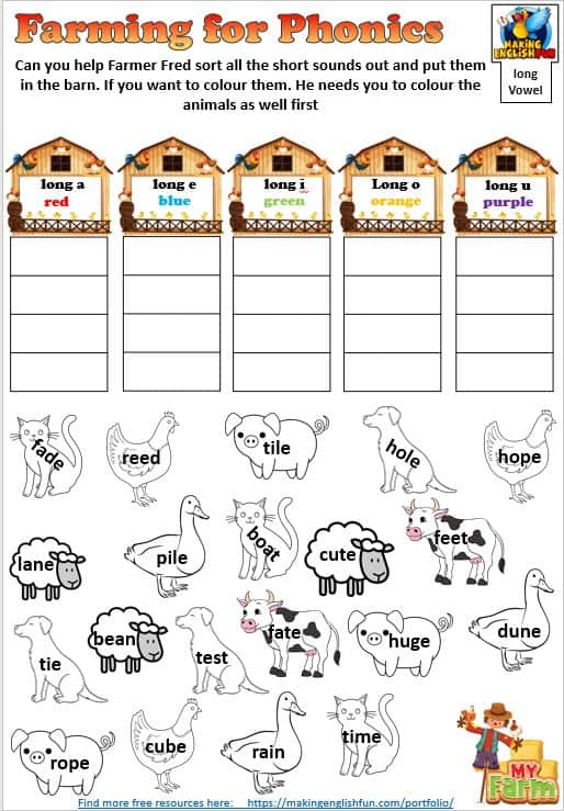 Farming for Vowels Phonics worksheet