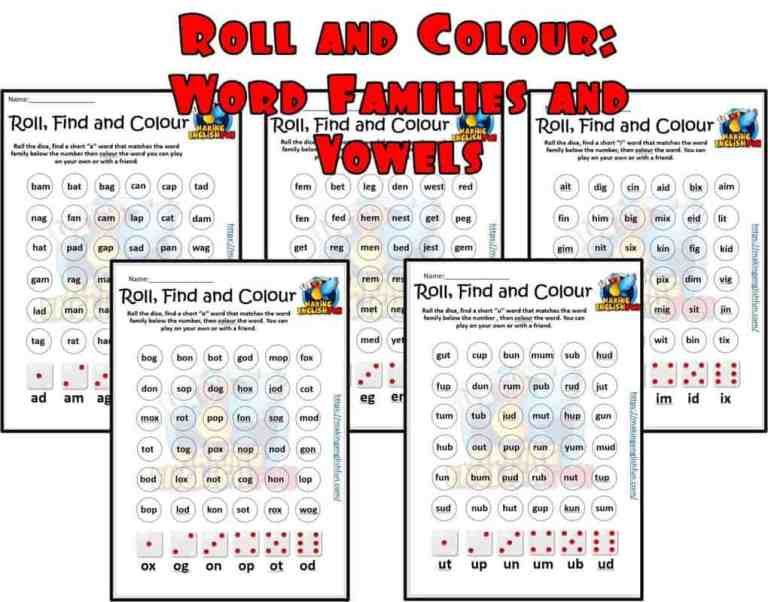 Roll and Colour – SHort and Long Vowel and Word Families Activities